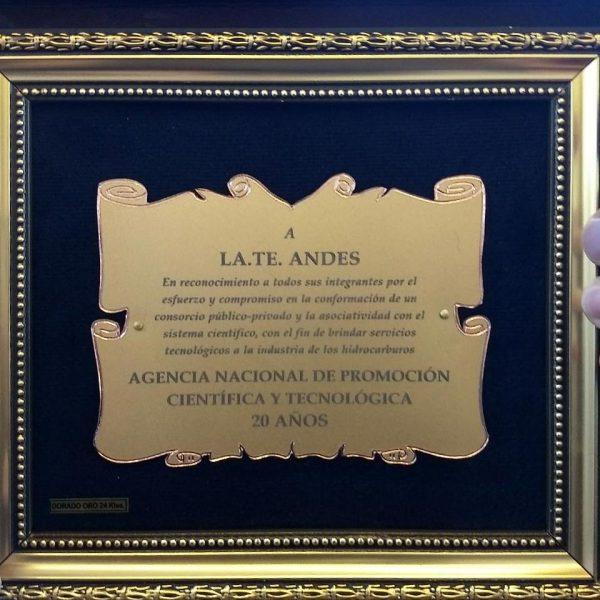 Placa de reconocimiento a la labor de LaTe Andes - ANPCyT